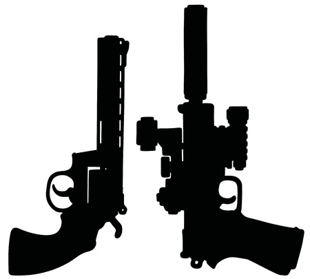 handguns: Hand drawing of two modern black heavy handguns Illustration
