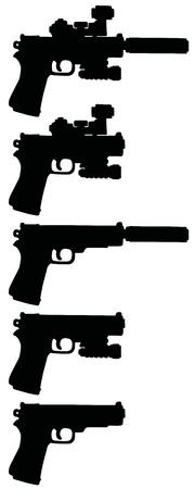 Hand drawing of five black pistols Illustration