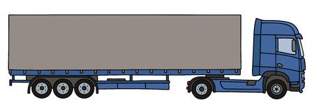 semitrailer: Hand drawing of a blue long cover semitrailer