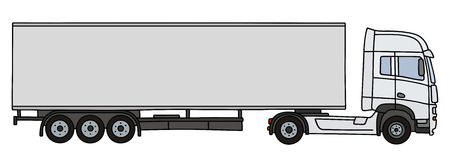 Hand drawing of a white long semitrailer