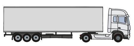 semitrailer: Hand drawing of a white long semitrailer