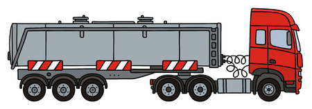 Hand drawing of a red towing truck with the steel tank semitrailer