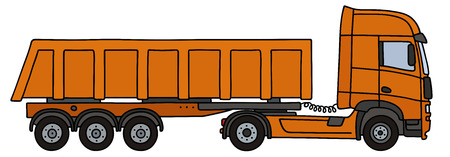 Hand drawing of an orange towing truck vith the tipper semitrailer