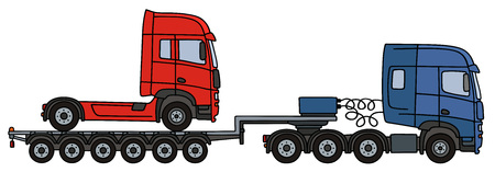 Hand drawing of a blue towing truck with the red truck on the flatbed semitrailer Illustration
