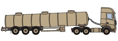 Hand drawing of a sand long military tank semitrailer