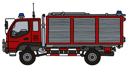 vectro: Hand drawing of a small fire truck Illustration