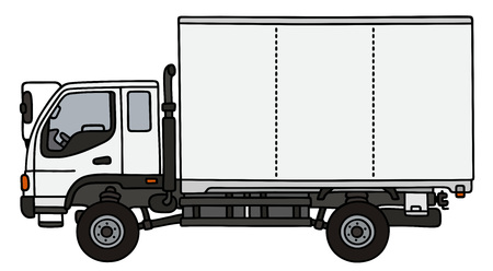 Hand drawing of a white small delivery truck Illustration
