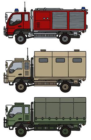 Hand drawing of three small terrain trucks