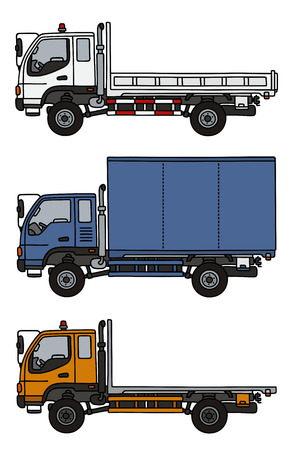 Hand drawing of three small trucks