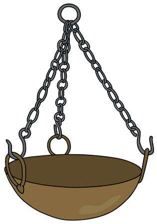 Hand drawing of an old brass magical cauldron Illustration