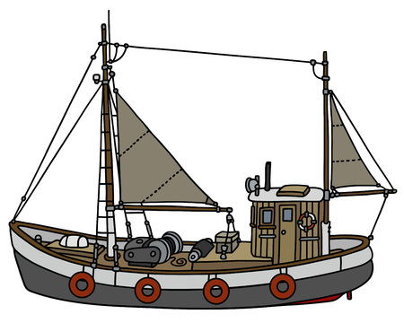 fishing vessel: Hand drawing of an old fishing cutter Illustration
