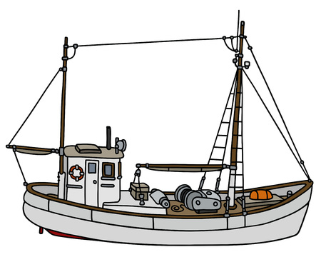 fishing vessel: Hand drawing of an old white fishing cutter Illustration