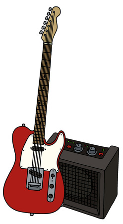 Hand drawing of a red electric guitar with the combo Illustration