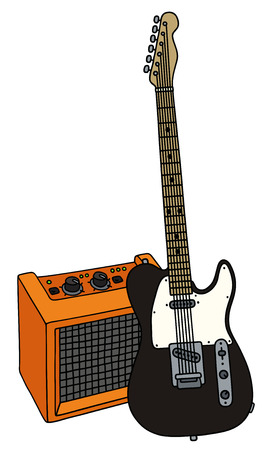 Hand drawing of a black electric guitar with the orange combo Illustration