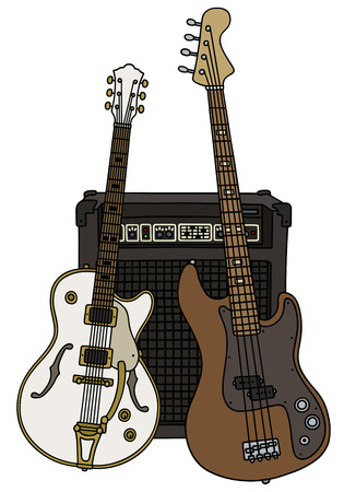 electric guitars: Hand drawing of classic white and brown bass electric guitars with the combo