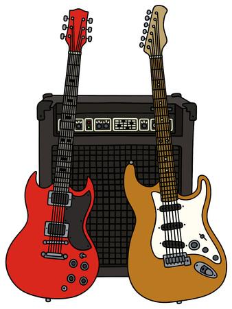 disegno a mano di due chitarre elettriche e il combo