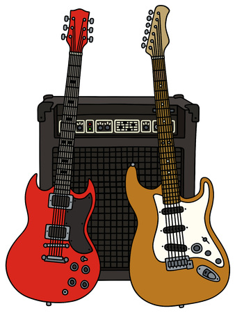 Hand drawing of two electric guitars and the combo