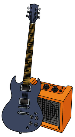 Hand drawing of a dark blue electric guitar and the orange combo