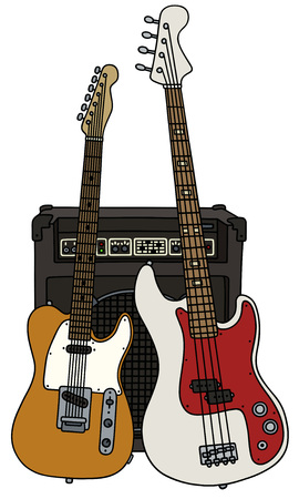 Hand drawing of classic and bass electric guitars with the combo