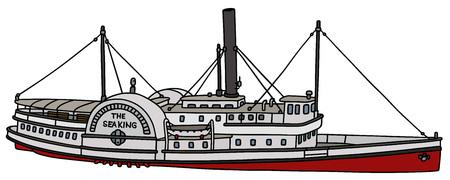 Hand tekening van een vintage raderstoomboot