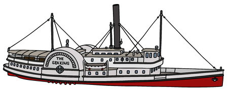 Hand drawing of a vintage paddle steamer