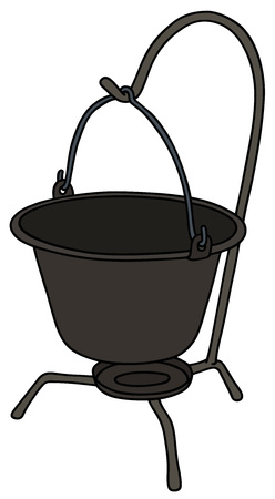 Hand drawing of a retro black metal kettle