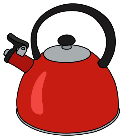 Hand drawing of a modern red metal kettle Illustration