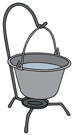 Hand drawing of a metal camping kettle Illustration
