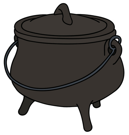 cast iron: Hand drawing of a historical black cast iron kettle