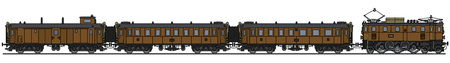 Hand drawing of a classic brown electric passenger train Illustration