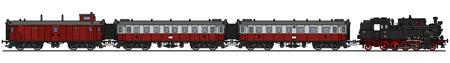 Gráfico de la mano de un tren de vapor rojo clásico