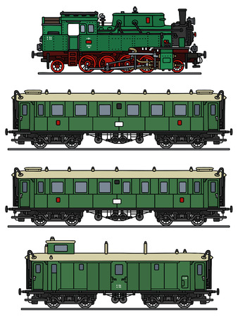 Hand drawing of a classic green steam train