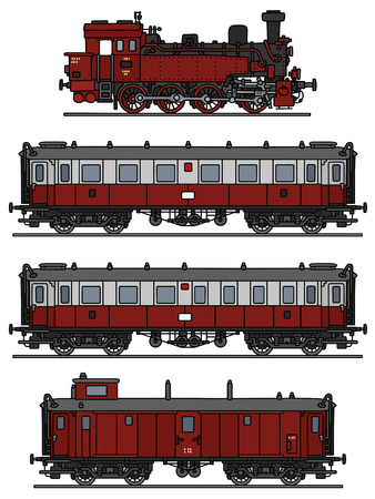 Hand drawing of a vintage red steam train