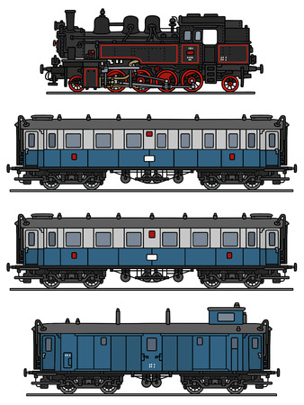 loco: Hand drawing of a classic blue steam train Illustration