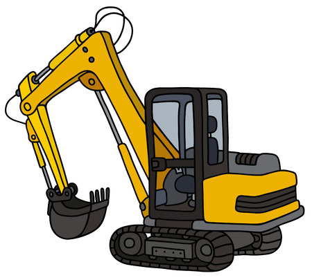 Hand drawing of a yellow small excavator