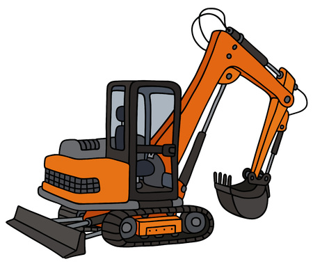 Hand drawing of an orange small excavator Illustration