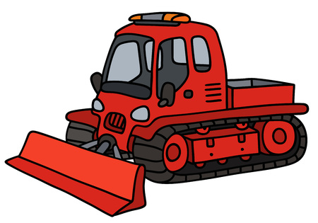 tracked: Hand drawing of a funny red tracked snowplow