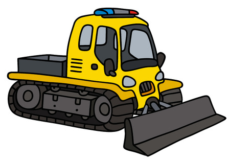 Hand drawing of a funny yellow small snowplow