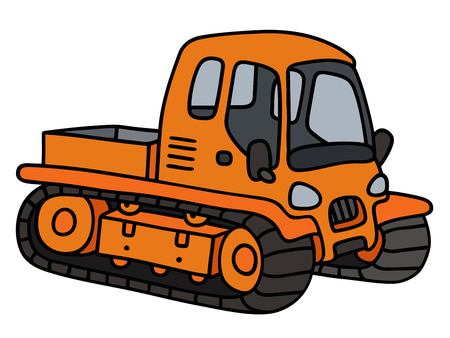 tracked: Hand drawing of an orange tracked vehicle