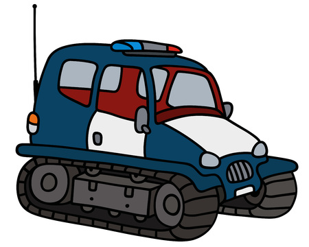 tracked: Hand drawing of a dark blue small police tracked vehicle