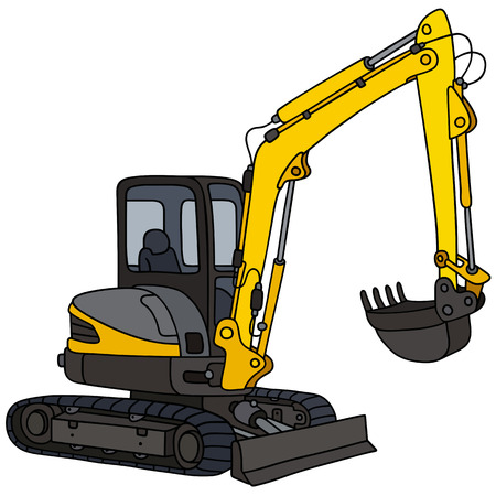Hand drawing of a small excavator  イラスト・ベクター素材