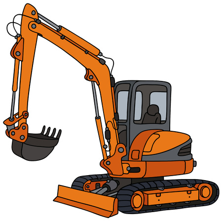 Hand drawing of an orange small excavator Illustration