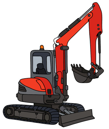 Hand drawing of a red small excavator