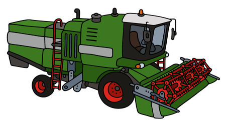 Hand drawing of a green harvester