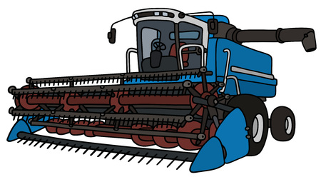 Hand drawing of a blue harvester