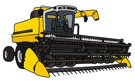 Hand drawing of a yellow harvester Illustration