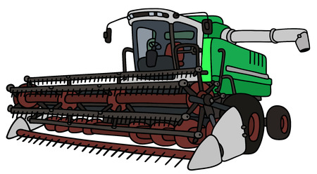Hand drawing of a green and white harvester
