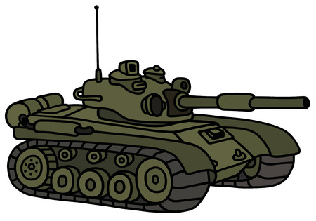 armoured: Hand drawing of a funny tank Illustration