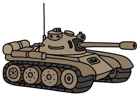 armoured: Hand drawing of a funny sand tank
