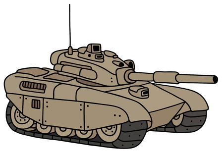 armoured: Hand drawing of a funny sand heavy tank